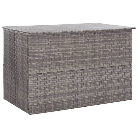 "vidaXL Garden Storage Box Gray 59.1""x39.4""x39.4"" Poly Rattan"