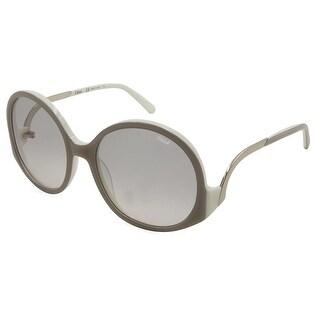 Chloe Womens Emilia Round Sunglasses Two Tone Oversized - turtledove/cream - o/s