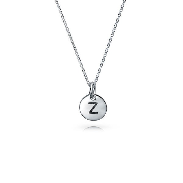 Bling jewelry 925 silver petite letter z initial disc pendant bling jewelry 925 silver petite letter z initial disc pendant necklace 18 inches mozeypictures Image collections