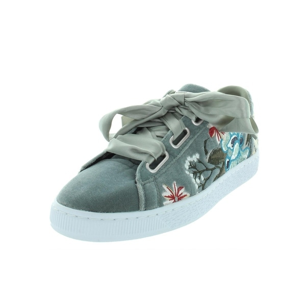 b800bd6fc05 Puma Womens Basket Heart Hyper Embroidered Fashion Sneakers Velvet Floral