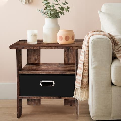 End & Side Table with Fabric Storage Drawer for Urban Small Space Apartment Garden or Patio, Space Saving,Easy Assembly