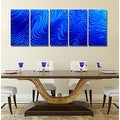 Statements2000 Blue Modern Abstract Metal Wall Art Painting by Jon Allen - Blue Hypnotic Sands - Thumbnail 5