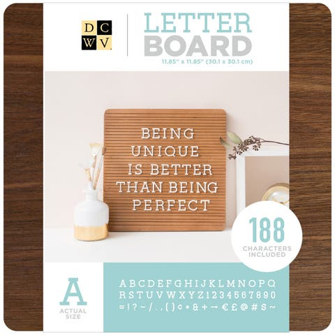 "Dcwv Frameless Letterboard 12""X12""-Dark Wood"