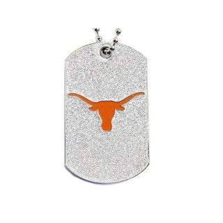 Texas Longhorns Dog Fan Tag Glitter Necklace