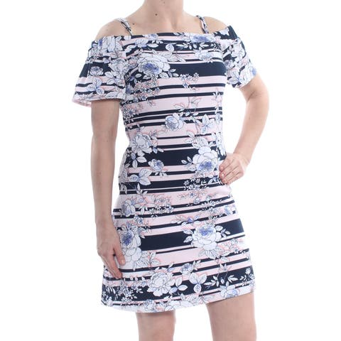 JESSICA SIMPSON Womens Blue Printed Off Shoulder Above The Knee A-Line Party Dress Size: 6