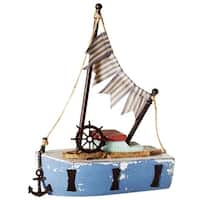 """Set of 2 Blue Nautical Themed Small Boat with Flags and Anchor Table Top Figures 13"""" - N/A"""