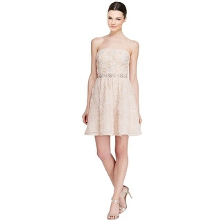 Adrianna Papell Strapless Rosette Beaded Waist Fit & Flare Cocktail Dress