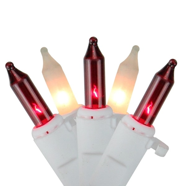 """Set of 300 Red and Frosted Clear Icicle Christmas Lights 2"""" Spacing - White Wire"""