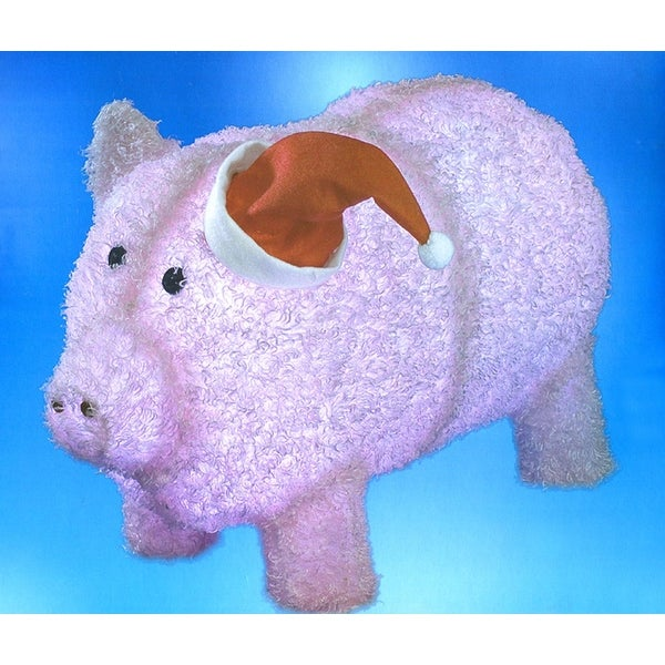 "28"" Pre-Lit LED Outdoor Chenille Pig in Santa Hat Christmas Outdoor Decoration - PInk"