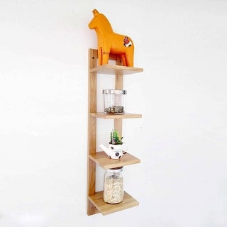 Rustic wood CD/DVD Storage Display 4 Tier Wall Mount Corner Shelves