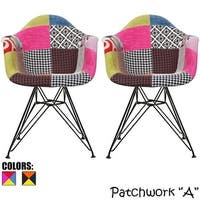 2xhome - Set of 2 Modern Patchwork Fabric Chrome Wire Dining Chairs - N/A