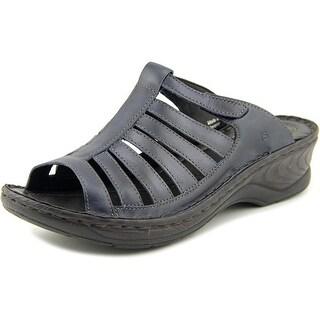 Josef Seibel Claudia Women Open Toe Leather Blue Slides Sandal