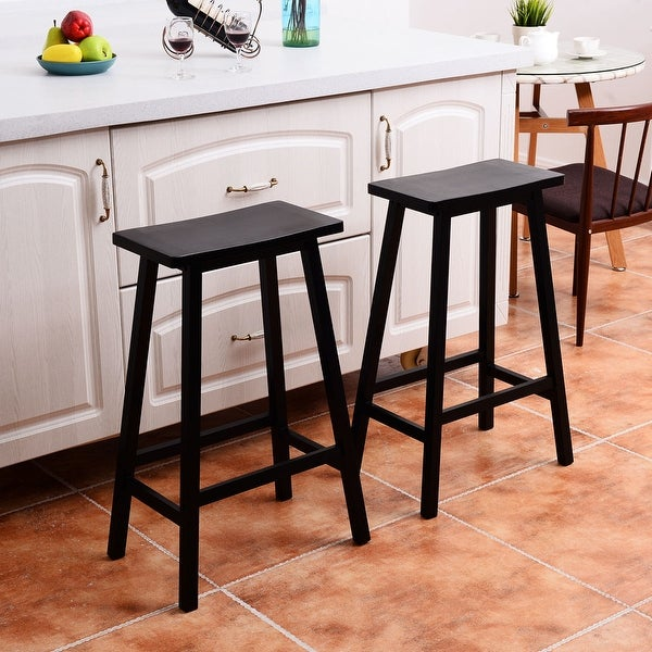 Costway Set of 2 Saddle Seat 29'' Bar Stools Wood Bistro Dining Kitchen Pub Chair Black