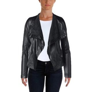 BB Dakota Womens Open-Front Blazer Faux Leather Faux Pockets