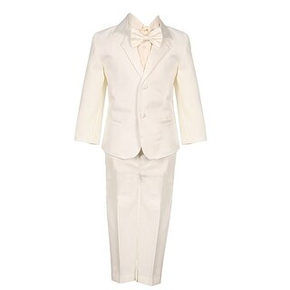 Boys Ivory 5 Piece Vest Jacket Pants Special Occasion Tuxedo Suit