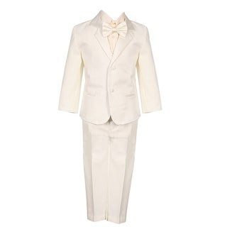Little Boys Ivory 5 Piece Vest Jacket Pants Special Occasion Tuxedo Suit