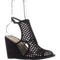 MG35 Kinzley Peep-Toe Wedge Sandals, Black