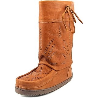 Manitobah Mid Gatherer Women Round Toe Leather Tan Winter Boot