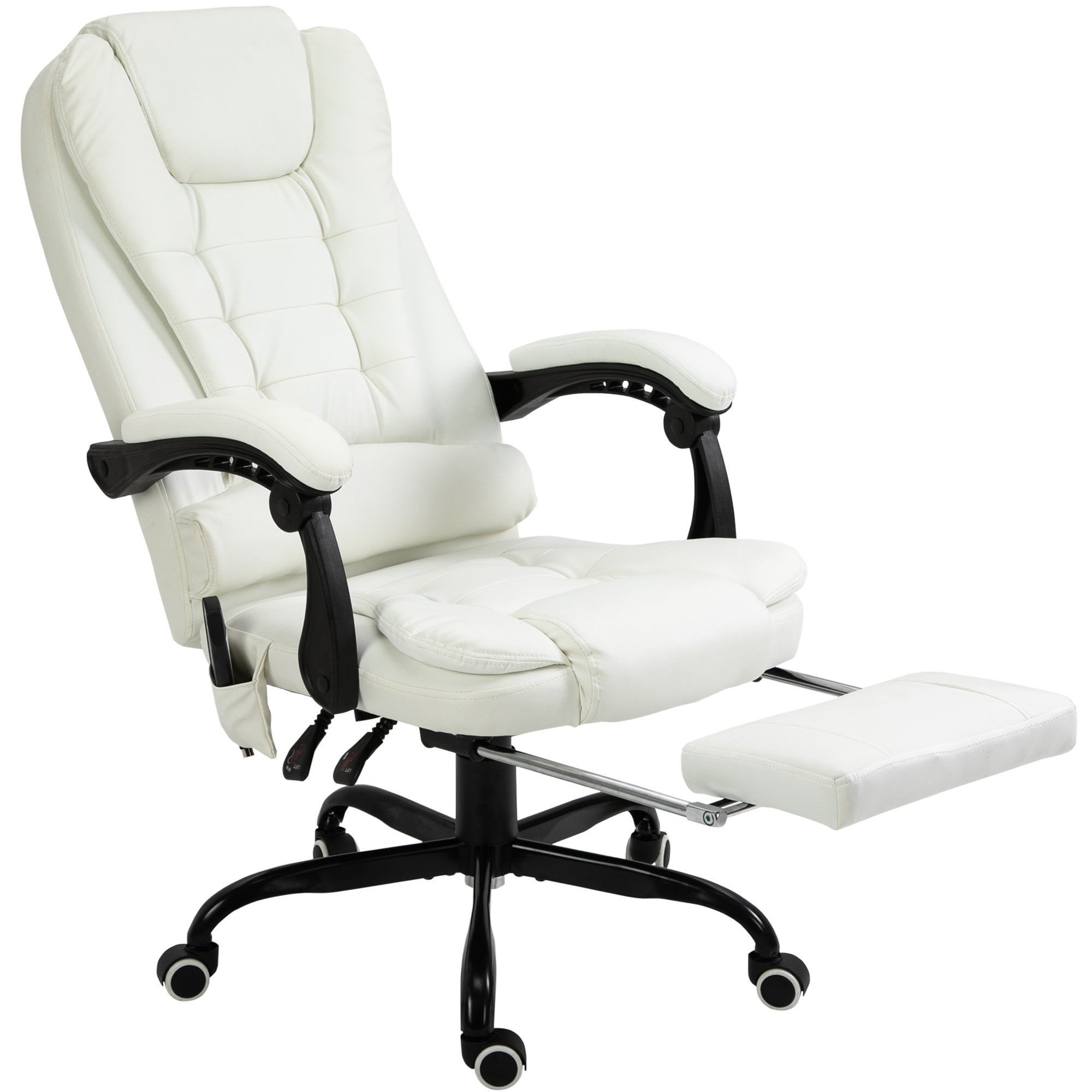 2 Points  Leather Massage Office Chair Footrest  Computer Gaming Swivel Recliner