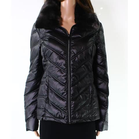 Kenneth Cole Black Womens Size Small S Faux Fur Puffer Jacket