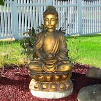 Sunnydaze Relaxed Buddha Fountain with Light 36 Inch Tall
