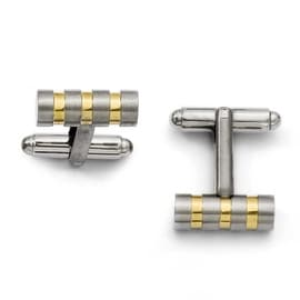 Chisel Gold Accented Brushed Titanium Cuff Links
