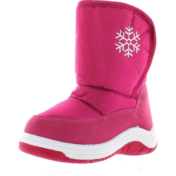 Via Pinky Scarlett-53F Children Girl Comfort Flower Warm Mid Calf Snow Boots