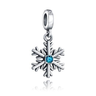 Bling Jewelry 925 Sterling Silver Crystal Snowflake Dangle Charm Bead