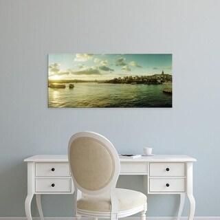 Easy Art Prints Panoramic Images's 'Bosphorus Strait at sunset, Istanbul, Turkey' Premium Canvas Art