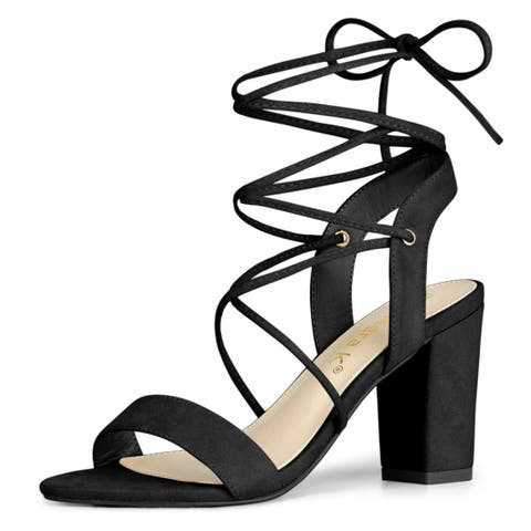 Women's Slingback Lace Up Block Heels Sandals