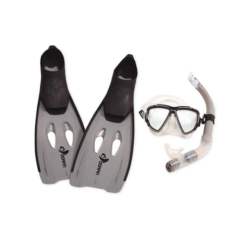 Gray Kona Adult Pro Silicone Water or Swimming Pool Scuba or Snorkeling Set - Extra Large