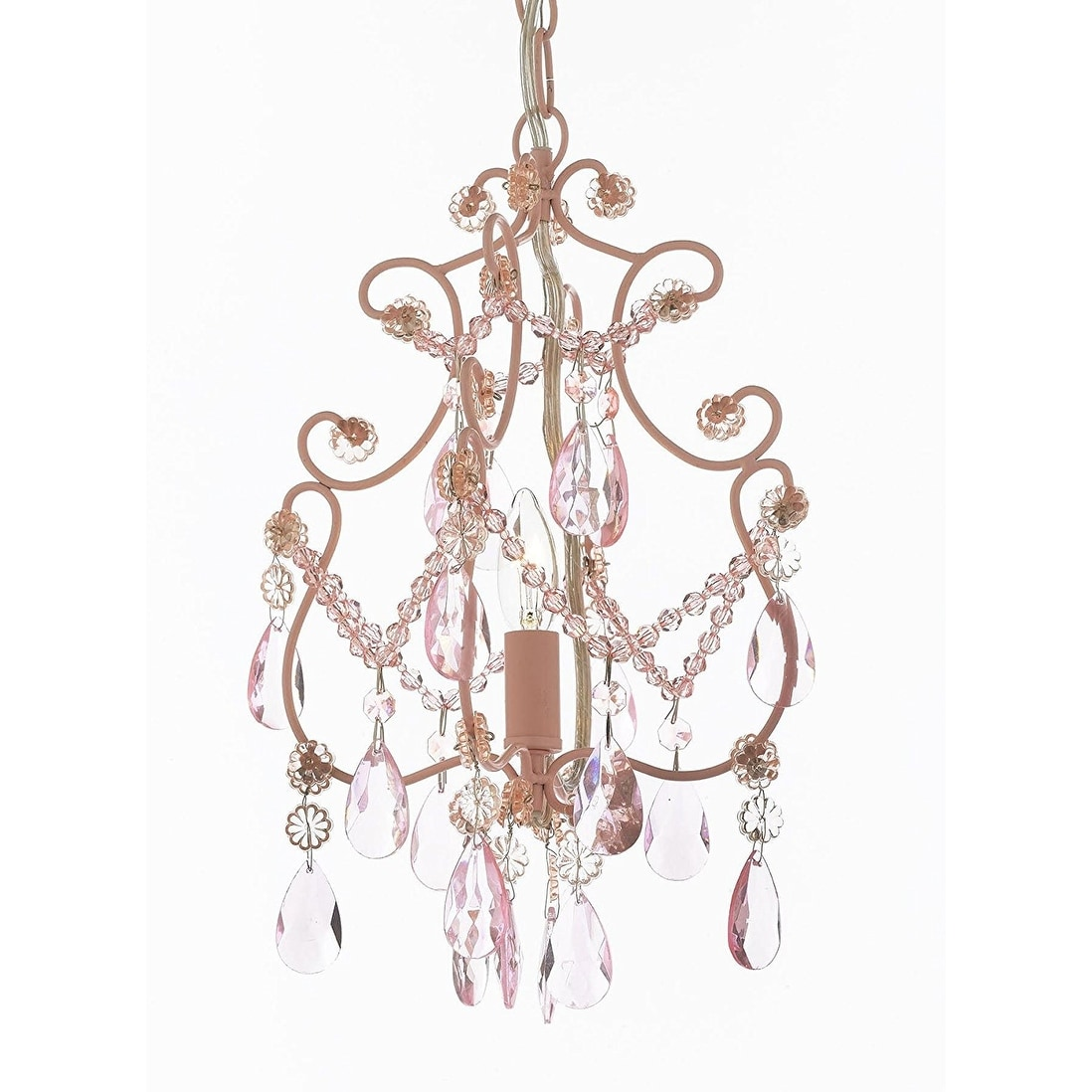 Wrought Iron And Crystal 1 Light Chandelier Pendant Pink Lighting Hardwire Plug In Perfect For Kid S Room