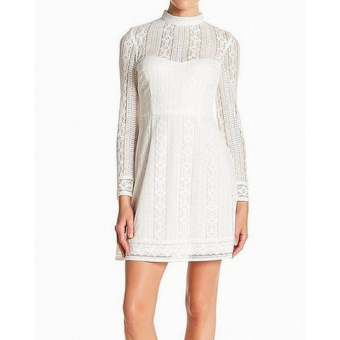 Kensie White Womens Size 8 Illusion Lace Mock Neck A-Line Dress