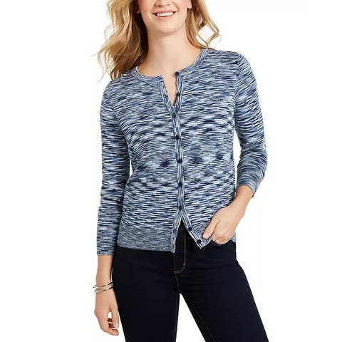 Charter Club Women's Space Dyed Button Cardigan Blue Size Medium