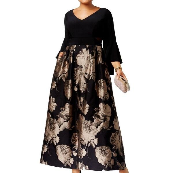 4e42bee7a92ed Shop Xscape Black Beige Womens Size 14W Plus Floral Print Brocade ...