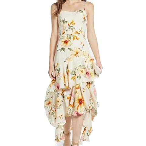 Leith Yellow Women's Size Small S Floral High-Low Shift Dress