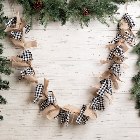 Glitzhome 6 Feet Christmas Black & White Plaid Fabric Garland