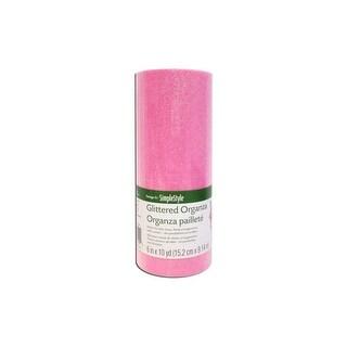"Floracraft Ribbon Organza 6""x10yd Glitter Pink"