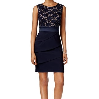 Connected Apparel NEW Black Women's Size 10 Lace Contrast Sheath Dress