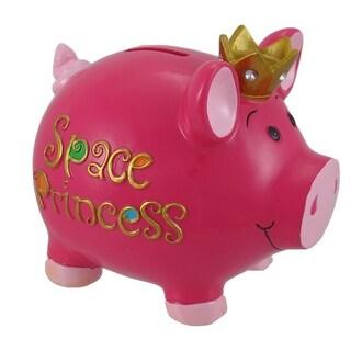 Hot Pink `Space Princess` Piggy Bank
