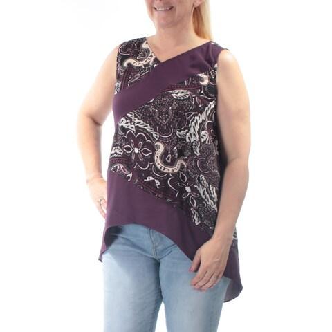 ALFANI Womens Purple Paisley Sleeveless V Neck Hi-Lo Top Size: 12