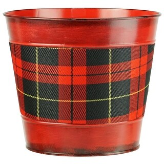 """6.5"""" Small Red with Tartan Plaid Christmas Potted Plant Cover"""