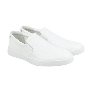Calvin Klein Ivo Brushed Ck Emboss Mens White Leather Slip On Sneakers Shoes