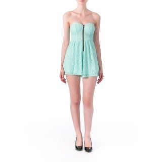 Material Girl Womens Juniors Lace Strapless Romper