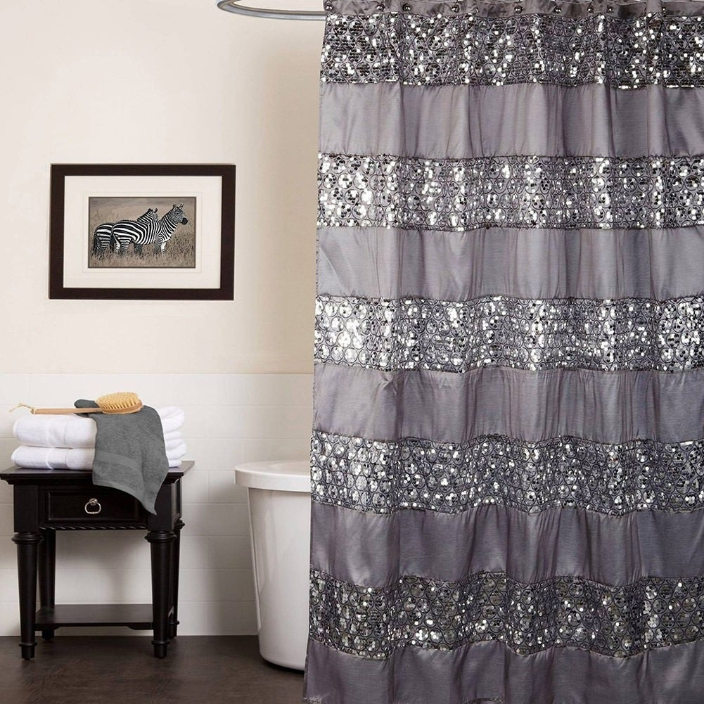 Champagne with Gold Sequins Popular Bath Sinatra Fabric Shower Curtain