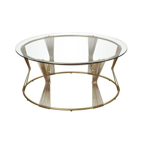 Oban Glade - 42 Inch Coffee Table Gold Leaf/Clear/Clear Finish