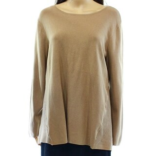 Alfani NEW Beige Women's Size Large L Boat Neck Ribbed Tunic Sweater