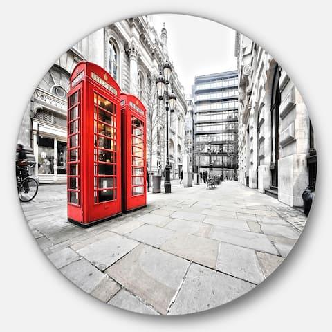 Designart 'Phone Booths on Street' Cityscape Circle Wall Art
