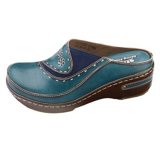 Women's Open-Back Hand-Painted Leather Clogs (Option: Blue)