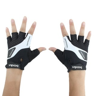 BOODUN Authorized Weight Cycling Lifting Fitness Half Finger Gloves Black L Pair